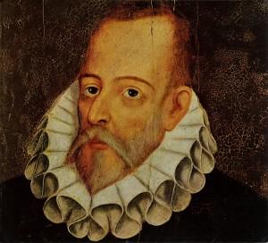TPG108073 Portrait of Miguel de Cervantes y Saavedra (1547-1615) by Jauregui y Aguilar, Juan de (c.1566-1641); Private Collection; Spanish,  out of copyright