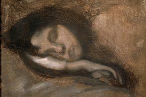 Cabeça de jovem a dormir